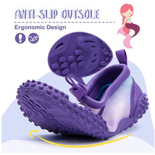 Load image into Gallery viewer, Kids Beach Water Shoes Non-Slip Quick Dry Purple Mermaid -- K komforme
