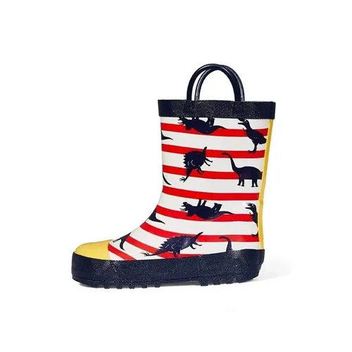 Boys Rain Boots Rubber Striped Dinosaur Kids Shoes - KKOMFORME
