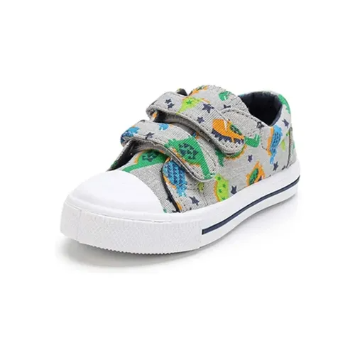 Kids Sneakers Boy and Girl Canvas Shoes Green Dinosaurs - KKOMFORME