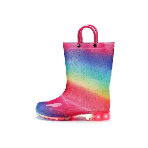 Girls Light Rain Boots Light Up Colorful Glitter Kids Shoes - KKOMFORME