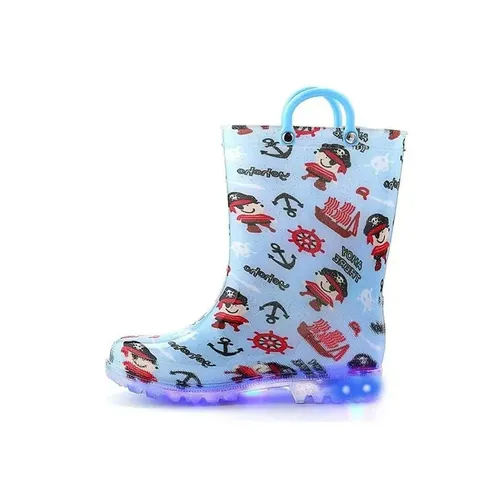 Boys Light Rain Boots Pirate Kids Shoes - KKOMFORME