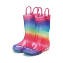 Load image into Gallery viewer, Girls Light Rain Boots Light Up Colorful Glitter Kids Shoes - KKOMFORME