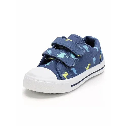 Kids Sneakers Boy and Girl Canvas Shoes Blue Dinosaurs - KKOMFORME