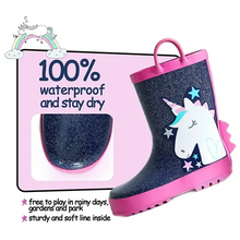 Load image into Gallery viewer, Girl Rain Boots Rubber Glitter Unicorn - KKOMFORME