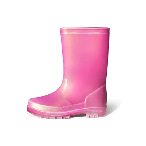 Kids Rain Boots Girls Shimmer Rose red - KKOMFORME