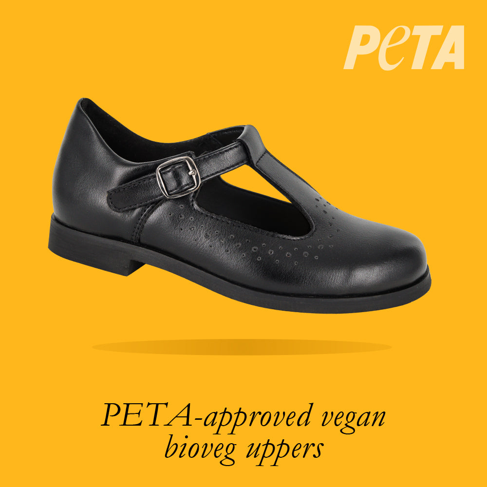 Load image into Gallery viewer, Alaska Kids - Girls T-bar School Shoe in Black PETA-approved Vegan Bioveg Leather