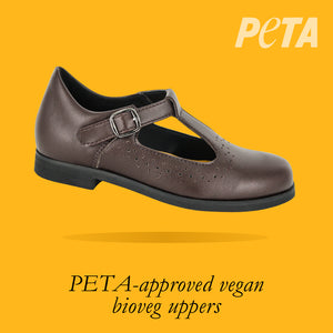 Load image into Gallery viewer, Alaska Kids - Girls T-bar School Shoe in Brown PETA-approved Vegan Bioveg Leather