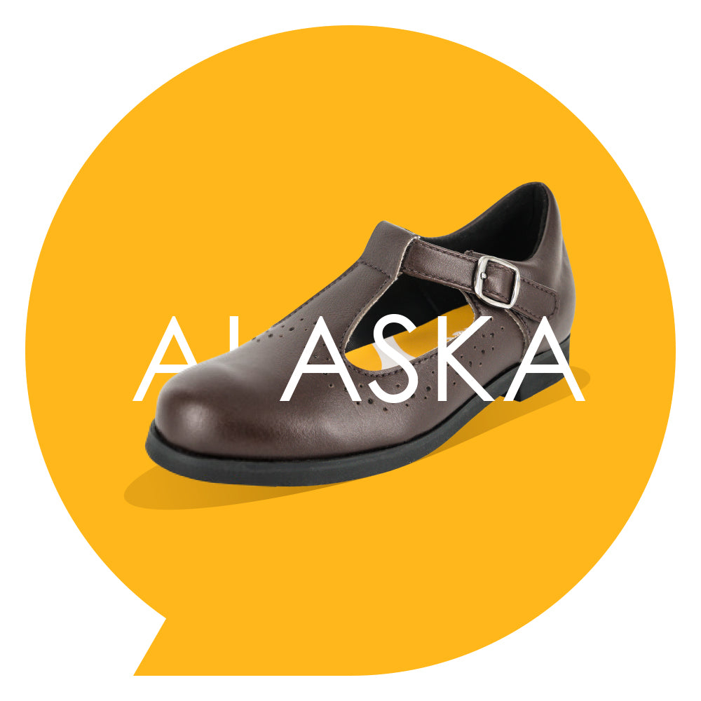 Alaska Kids - Girls T-bar School Shoe in Brown PETA-approved Vegan Bioveg Leather