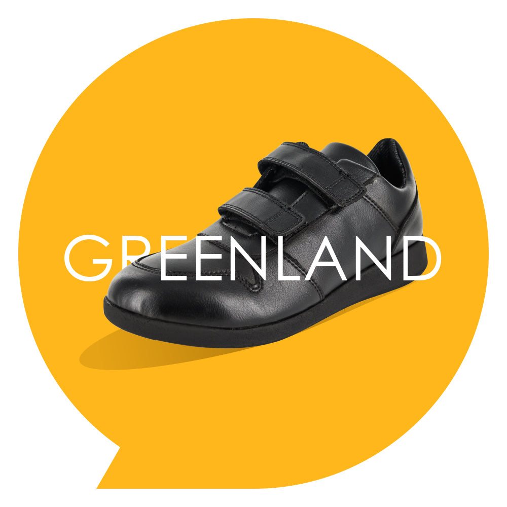 Greenland Youths - Boys Velcro Trainer in Black PETA-approved Vegan Bioveg Leather