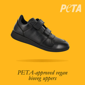 Load image into Gallery viewer, Greenland Youths - Boys Velcro Trainer in Black PETA-approved Vegan Bioveg Leather