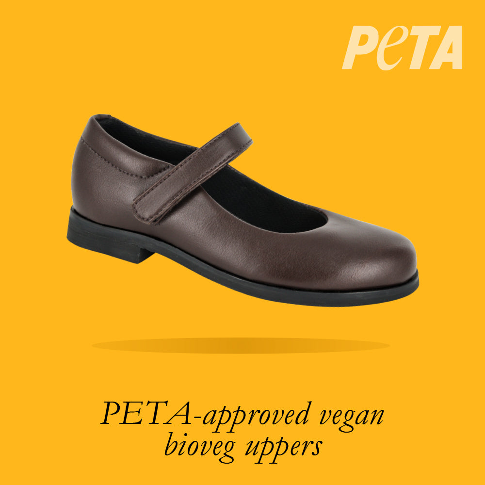 Load image into Gallery viewer, San. Fran Youths - Girls Mary-Jane School Shoe in Brown PETA-approved Vegan Bioveg Leather