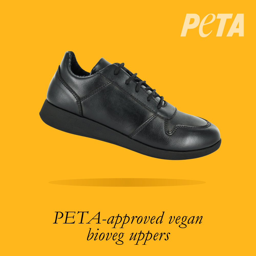 Load image into Gallery viewer, Vancouver Youths - Boys Lace-Up Trainer in Black PETA-approved Vegan Bioveg Leather