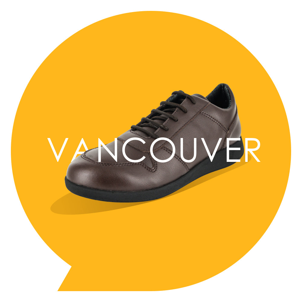 Vancouver Youths - Boys Lace-Up Trainer in Brown PETA-approved Vegan Bioveg Leather
