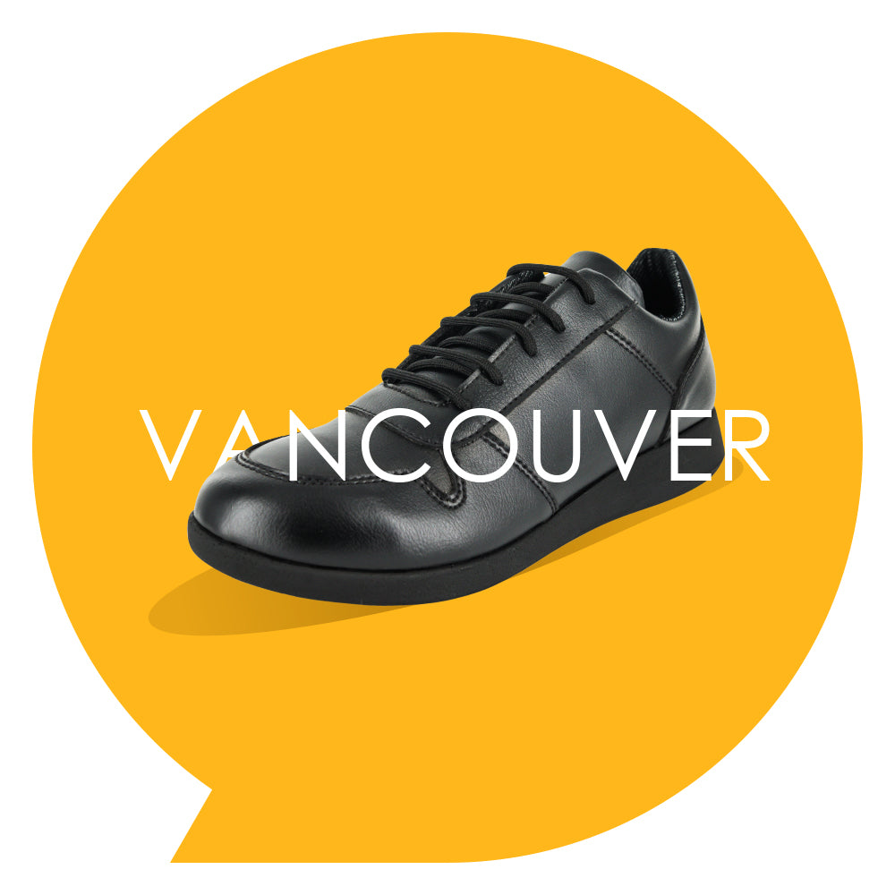 Vancouver Youths - Boys Lace-Up Trainer in Black PETA-approved Vegan Bioveg Leather