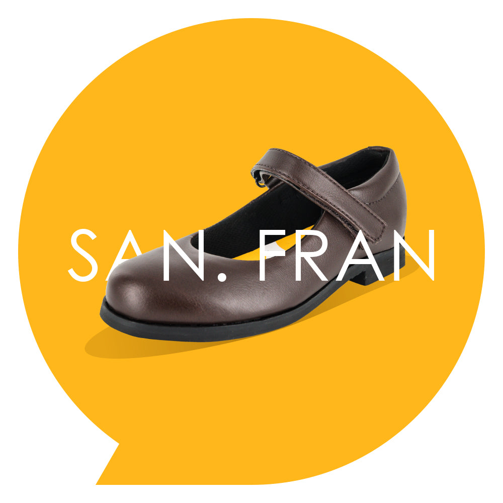 San. Fran Youths - Girls Mary-Jane School Shoe in Brown PETA-approved Vegan Bioveg Leather