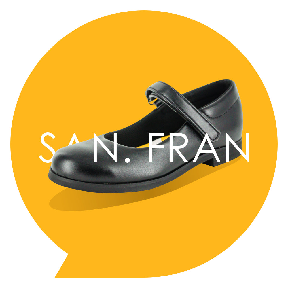 San. Fran Youths - Girls Mary-Jane School Shoe in Black PETA-approved Vegan Bioveg Leather