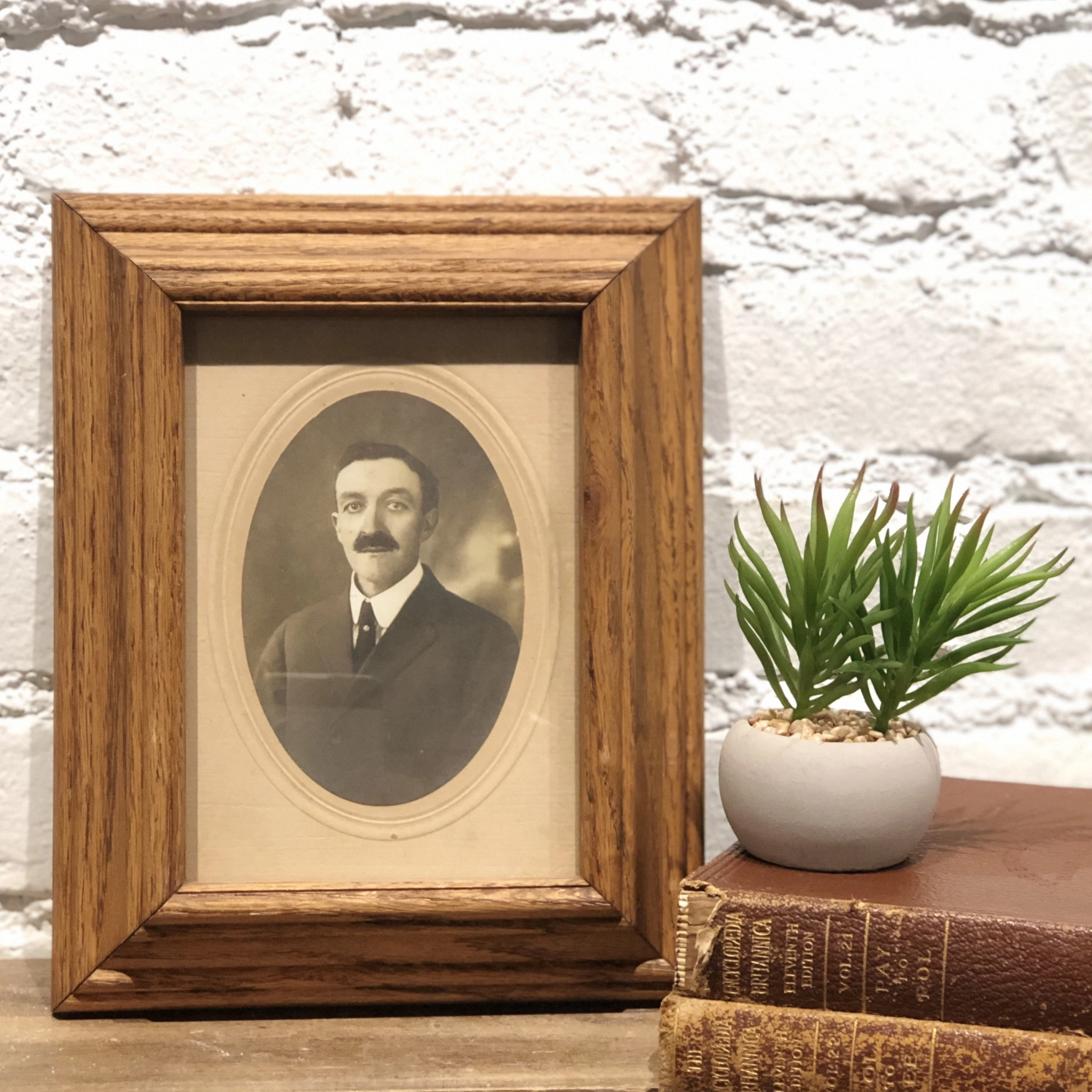 #InstaAncestors Male Portrait in Deep Wood Frame
