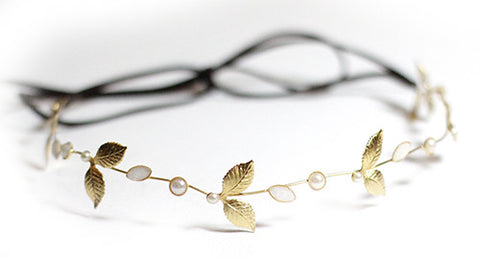 Big Leaf Pearl  Flexible Wire Headband.