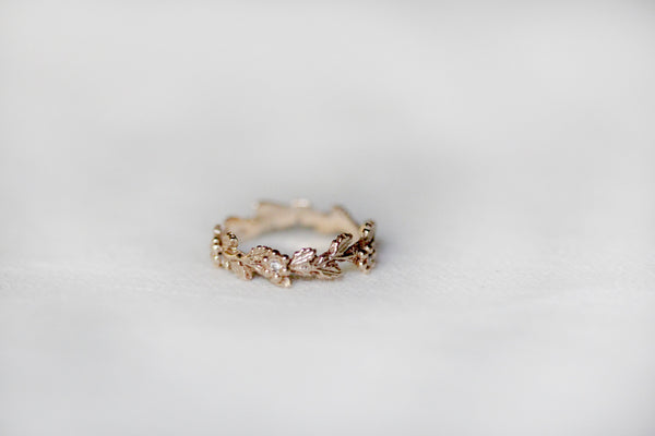 Floral Branch Unique Diamond Leaf Gold Ring