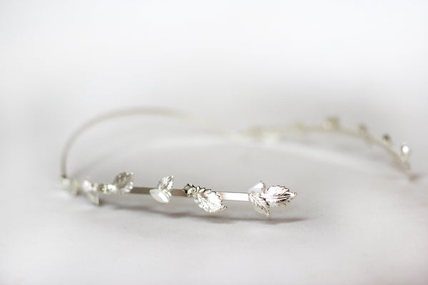 Field Of Leaves Crystals and Pearls Greek Goddess Headband