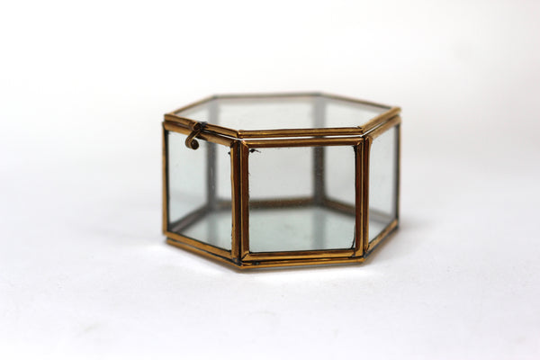 Antique Hextagon Brass Glass Jewelry Box #108