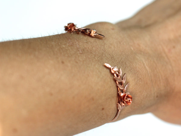 Crystal Twig Rose Bracelet