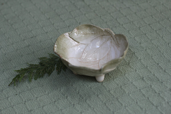 Green Leaves Ring Bowl Made In Italy Antique Porcelain Dish