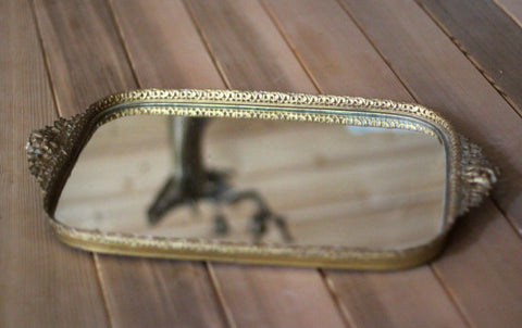 Rectangle Lace Antique Mirror Tray #119