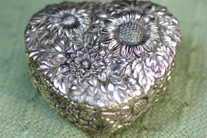 Silver Antique Jewelry Box Heart Sunflowers Red Velvet #102