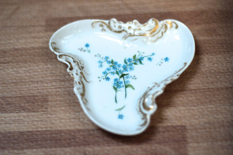 Antique Blue Flowers Porcelain Ring Dish