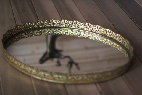 Lace Antique Mirror Tray #116