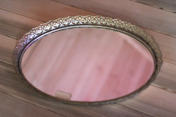 Large Filigree Antique Mirror Tray