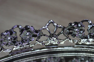 Rounded Lace Antique Mirror Tray #117