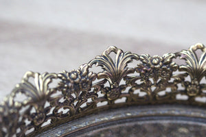 Filigree Floral Antique Mirror Tray #121