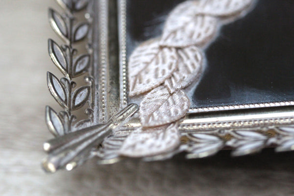 Rectangle Leaves Lace Antique Mirror Tray #119
