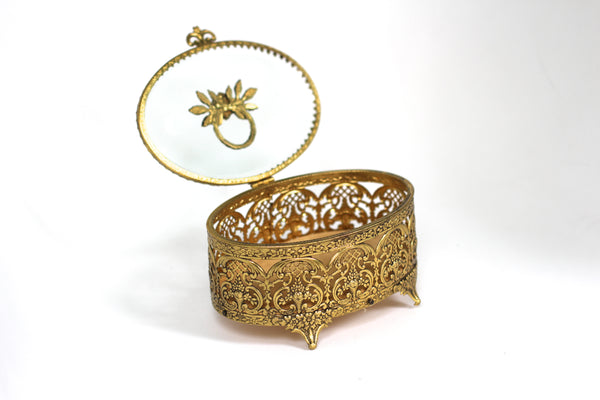 Oval floral Vintage Ormolu Filigree Jewelry Box #134