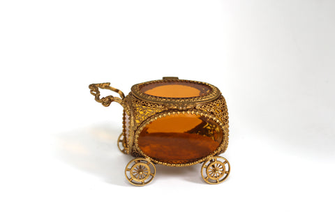 Antique Carriage Gold Filigree Jewelry Box No. 136