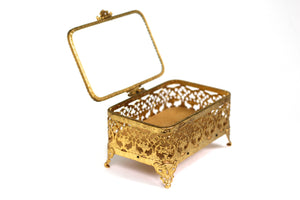 Antique Ormolu Filigree Jewelry Box #131