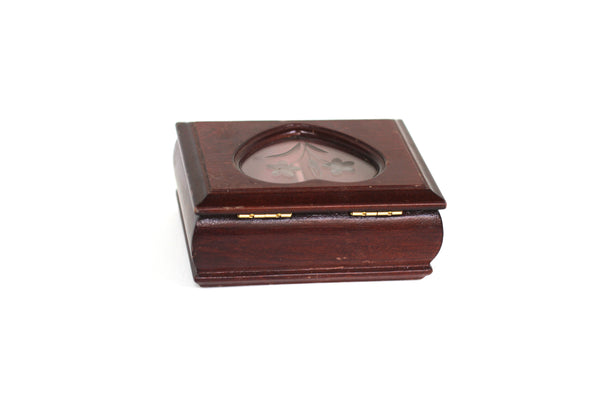 Heart Shaped Window Oak Wood Jewelry Box