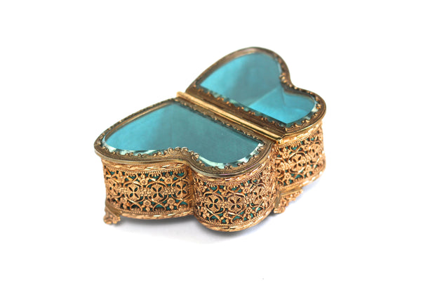 Antique Rare Teal Butterfly Jewelry Music Box
