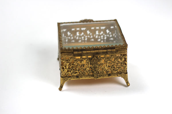 Antique Square Ormolu Filigree Jewelry Box