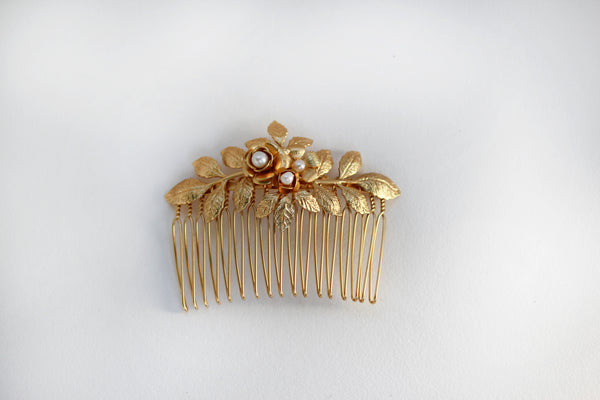 Amber Flower Hair Comb