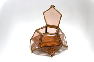 Amber Tinted French Victorian Rare Jewelry Box - Reserved