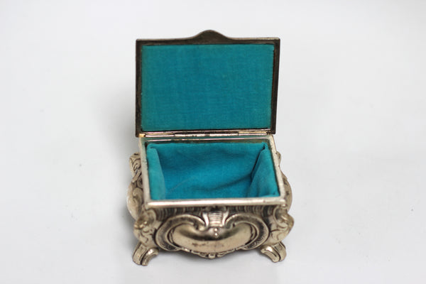 Antique Teal Velvet interior Silver Jewelry Box