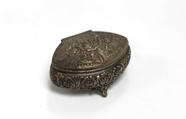Antique Silver Roses Jewelry Box