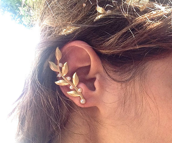 Twigs and Pearls Ear Cuff