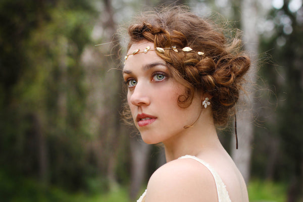 Medium Pearl Leaf Flexible Wire Headband.
