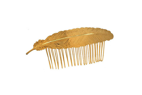 Large Feather Hair Comb