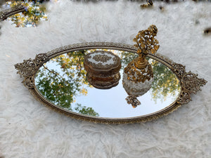 Antique Floral Filigree Mirror Tray