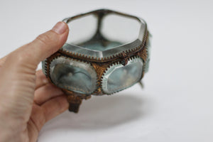Antique French Victorian blue tuft Jewelry Box
